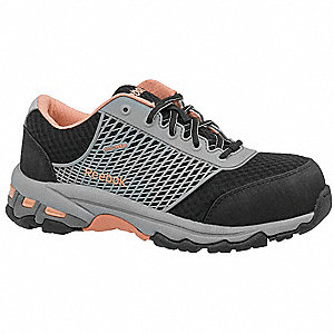 "3""H Women's Athletic Style Work Shoes, Composite Toe Type, Mesh Upper Material, Black/Peach, Size 7M"