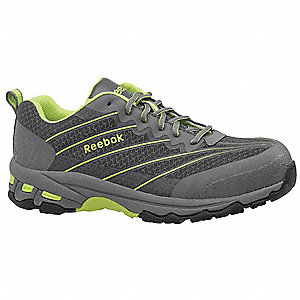 Athletic Work Shoes,Gray/Lime,7-1/2W,PR