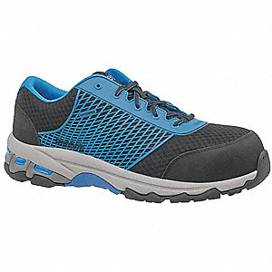 "3""H Men's Athletic Style Work Shoes, Composite Toe Type, Mesh Upper Material, Black/Blue, Size 15M"