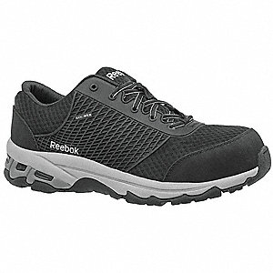"3""H Men's Athletic Style Work Shoes, Composite Toe Type, Mesh Upper Material, Black, Size 10M"