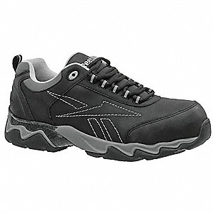 "3""H Men's Athletic Style Work Shoes, Composite Toe Type, Leather Upper Material, Black, Size 14M"