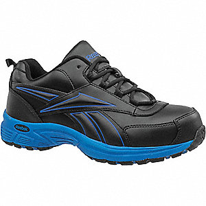 "3""H Men's Athletic Style Work Shoes, Steel Toe Type, Leather Upper Material, Black/Blue, Size 11-1/2"