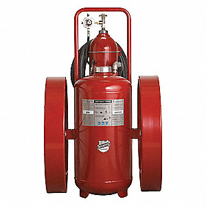 Dry Chemical, ABC Class Wheeled Fire Extinguisher with 300 lb. Capacity and 52 sec. Discharge Time