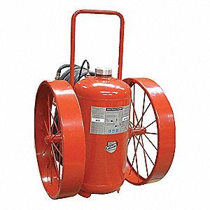 Dry Chemical, ABC Class Wheeled Fire Extinguisher with 300 lb. Capacity and 53 sec. Discharge Time