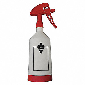 White/Red Plastic Dual Spray Bottle, 1L, 1 EA