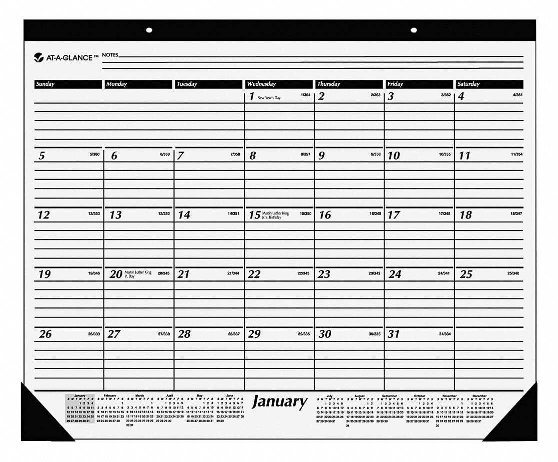 One-Color Desk Pad Calendar,  Format One Month Per Page,  Sheet Size 22 x 17 in,  Color White