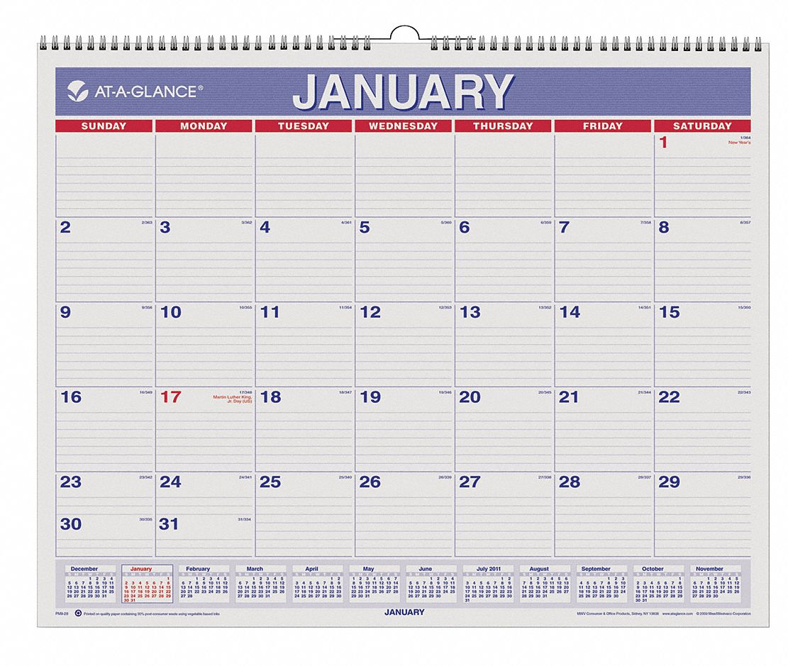 Monthly Wall Calendar,  Format One Month Per Page,  Sheet Size 15 x 12 in,  Color Red/Blue