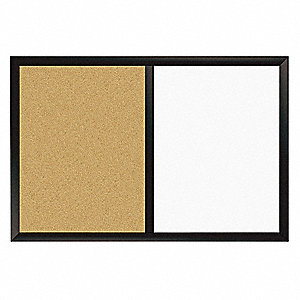"White/Natural Cork Porcelain, Natural Cork Magnetic Dry Erase Combo Board, 36"" Width, 24"" Height"