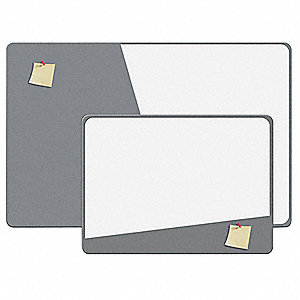 "Gray/White Melamine, EVA Foam Combination Magnetic Dry Erase And Foam Board, 24"" Width, 18"" Height"