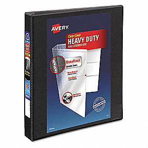 "Black 1"" 3-Ring Binder, 8-1/2"" x 11"" Sheet Size, Polypropylene, 220 Sheet Capacity - Binders"