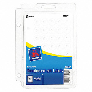 "1/4"" x 1/4"" Polyvinyl Hole Reinforcement Label, White&#x3b; PK160"