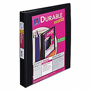 "Black 1"" 3-Ring Binder, 8-1/2"" x 11"" Sheet Size, Vinyl, 220 Sheet Capacity - Binders"