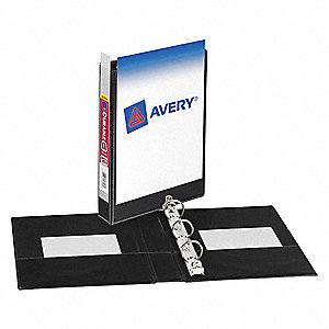 "Black 1"" 3-Ring Binder, 5-1/2"" x 8-1/2"" Sheet Size, Vinyl, 175 Sheet Capacity - Binders"