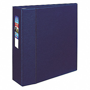 "Navy Blue 4"" 3-Ring Binder, 8-1/2"" x 11"" Sheet Size, Polypropylene, 780 Sheet Capacity - Binders"