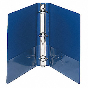 "Dark Blue 1-1/2"" 3-Ring Binder, 8-1/2"" x 11"" Sheet Size, Vinyl Covered Chipboard, 350 Sheet Capacity"