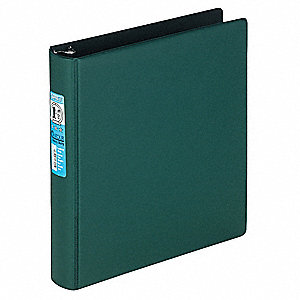 "Green Contour Heavy-Duty Locking Round Ring Binder, 1-1/2"" Round, Vinyl Covered Chipboard"