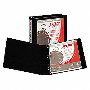"Black Speedy Spine  Round Ring View Binder, 1-1/2"" Round, Vinyl Covered Chipboard"