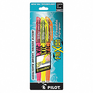 Highlighter Set with Chisel Tip, Orange, Pink, Yellow, 1 EA