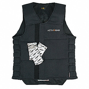Cooling Vest, 2 hr. Cooling Time, Black, L/XL
