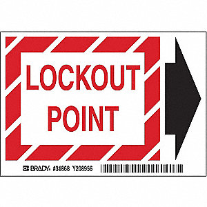 "Lockout Tagout, No Header, Polyester, 3-1/2"" x 5"", Adhesive Surface, Not Retroreflective"