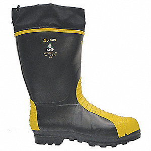 "14""H Unisex Met Guard Boots, Steel Toe Type, Natural Rubber Upper Material, Black/Yellow, Size 8"