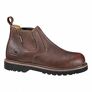 "4""H Men's Work Boots, Steel Toe Type, Leather Upper Material, Brown, Size 8W"