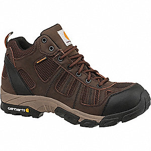 "4""H Men's Work Boots, Composite Toe Type, Leather/Nylon Upper Material, Brown, Size 9-1/2W"
