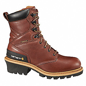 "8""H Men's Work Boots, Steel Toe Type, Leather Upper Material, Brown, Size 8-1/2W"