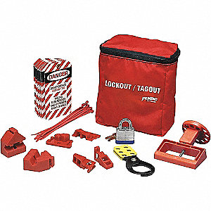 Portable Lockout Kit, Filled, Electrical Lockout, Pouch, Red, White