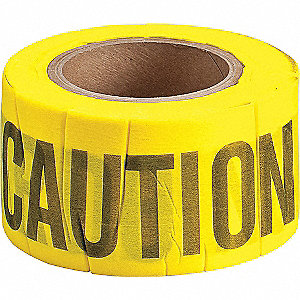 Barricade Tape,Caution,Black/Yellow,3inW