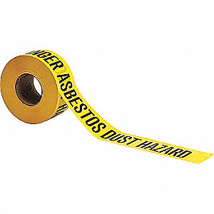 "Barricade Tape, Black/Yellow, 3"" x 1000 ft., Danger Asbestos Dust Hazard"