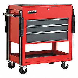 "Red Standard Duty Rolling Cabinet, 43"" H X 37"" W X 20"" D, Number of Drawers: 3"