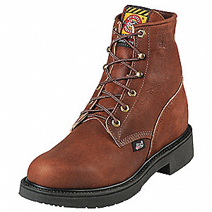 "6""H Men's Work Boots, Steel Toe Type, Leather Upper Material, Brown, Size 8EE"
