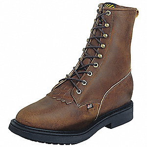 "8""H Men's Work Boots, Steel Toe Type, Leather Upper Material, Brown, Size 7D"