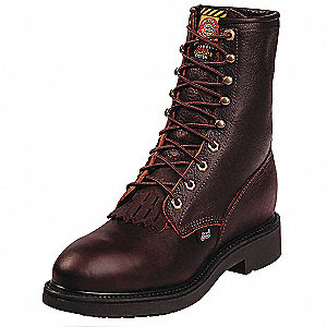"8""H Men's Work Boots, Steel Toe Type, Leather Upper Material, Brown, Size 6-1/2EE"
