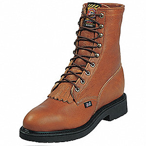 "8""H Men's Work Boots, Steel Toe Type, Leather Upper Material, Brown, Size 10-1/2EEE"