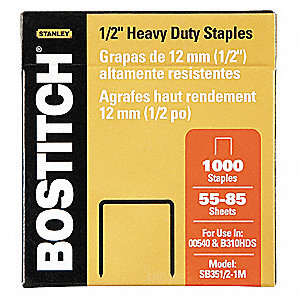 Staples,Heavy Duty,1/2 In. Leg,PK1000