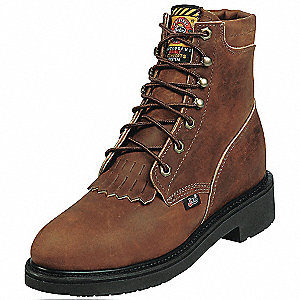 "6""H Women's Work Boots, Steel Toe Type, Leather Upper Material, Brown, Size 5-1/2C"