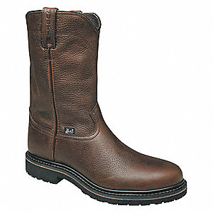 "10""H Men's Work Boots, Steel Toe Type, Leather Upper Material, Brown, Size 6-1/2EE"