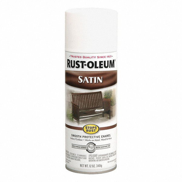 rust oleum stops rust spray paint in satin white for. Black Bedroom Furniture Sets. Home Design Ideas