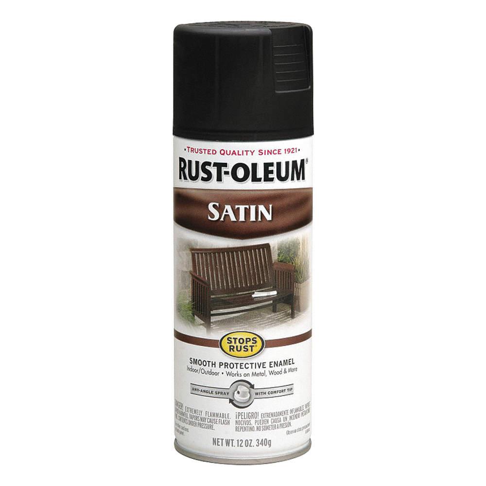 Stops Rust® Spray Paint in Satin Black for Metal, Plastic, Steel, Wood, 12  oz