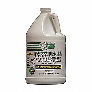 Odor and Waste Digester, 1 gal. Bottle, Unscented Liquid, Ready To Use, 4 PK