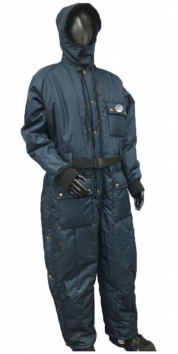 Coverall with Hood,  XL,  Nylon,  Navy,  Men's,  Zipper with Snap
