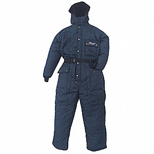 Coverall with Hood,  3XL,  Nylon,  Navy,  Men's,  Zipper with Snap