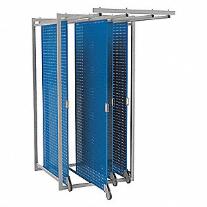 "Steel Pegboard Floor Rack with 220 lb. Load Capacity, 83-5/8""H x 40-3/8""W, Blue, 1 EA"