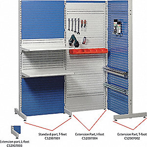 "Steel Pegboard Floor Rack with 528 lb. Load Capacity, 72-7/8""H x 30-5/8""W, Blue, 1 EA"