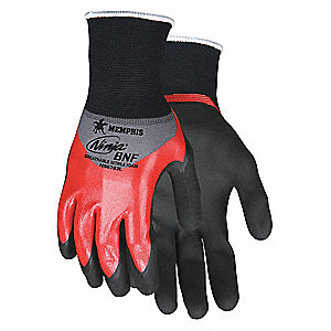 18 Gauge Flat Dip Foam Nitrile Coated Gloves, Size XL, Black/Red
