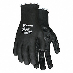 15 Gauge Dotted Nitrile Coated Gloves, Glove Size: XL, Black