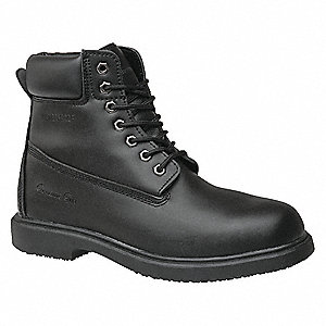 "6""H Men's Work Boots, Plain Toe Type, Leather Upper Material, Black, Size 7"