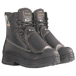 "8""H Men's Work Boots, Steel Toe Type, Leather Upper Material, Black, Size 7EEE"